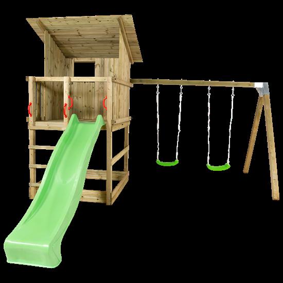 PLUS Play Legetårn m/skråt tag inkl. gyngestativ grøn rutsjebane og gyngesæder