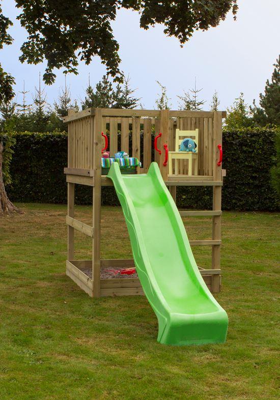 PLUS Play Legetårn med grøn rutsjebane uden gyngestativ