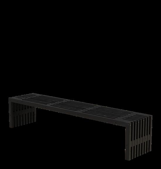 Lækker Rustik trallebænk Design, 218 cm grundmalet sort UO-66