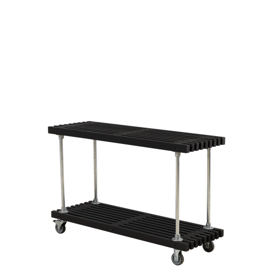 Tralle Grill-/Anretterbord m/hjul - 138 cm - Sort